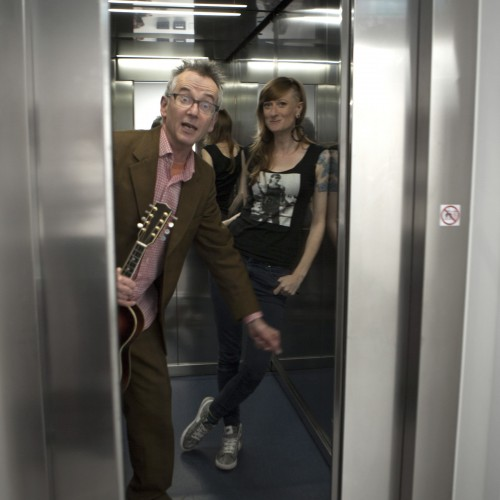 Live and Loud in an elevator with John Hegley and Anna Freeman