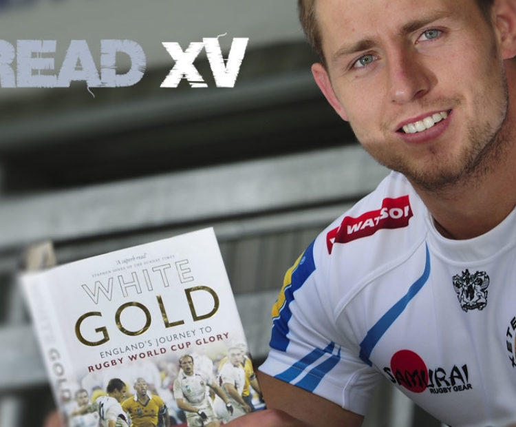 Read XV logo with Exeter Chiefs player