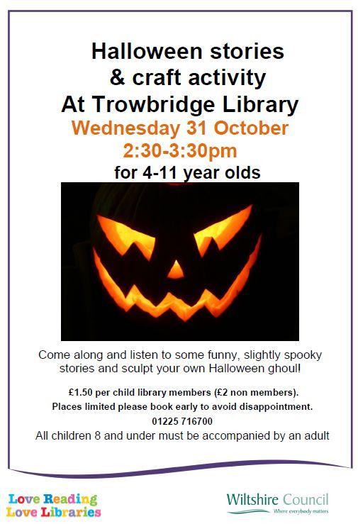 Halloween stories and craft activity at Trowbridge Library - Literature  Works SW - Nurturing literature development activity in South West England