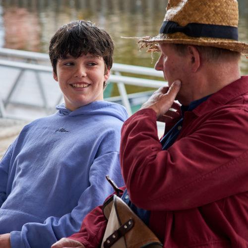 Sir Michael Morpurgo chats to young winner Harry (Luke) Grout